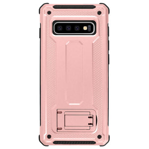 Samsung Galaxy S10/S10+/S10e Dual Layer Hybrid Defender Hard PC + Soft TPU Bumper Shockproof with Built-in Kickstand