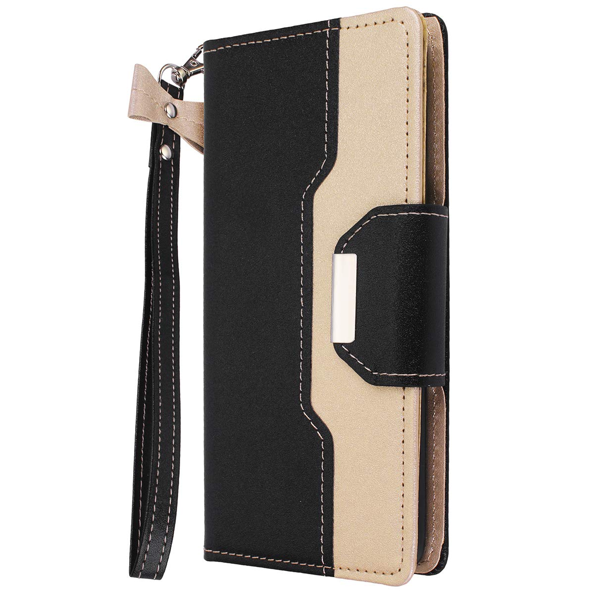 Galaxy S10/S10+ Wallet Full Body Protection Case PU Leather with Makeup Mirror and Bow-Knot Strap Protective Stand Case