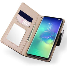 Load image into Gallery viewer, Galaxy S10/S10+ Wallet Full Body Protection Case PU Leather with Makeup Mirror and Bow-Knot Strap Protective Stand Case