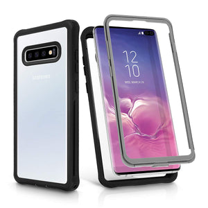 Galaxy S10/S10+ Case,AICase Transparent Rugged Heavy Duty Bumper Armor Case,Military Grade Drop Tested,Shock-Absorption