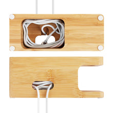 Load image into Gallery viewer, Bamboo Wood Charging Dock Charge Station Stock Cradle Holder for Apple Watch & iPhone