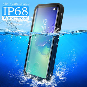 Galaxy S10/Note 9 Waterproof Case IP68 Water Resistant Snowproof Dirtypoof Full Body Protection Transparent Clear Back Case Built-in Screen Protector