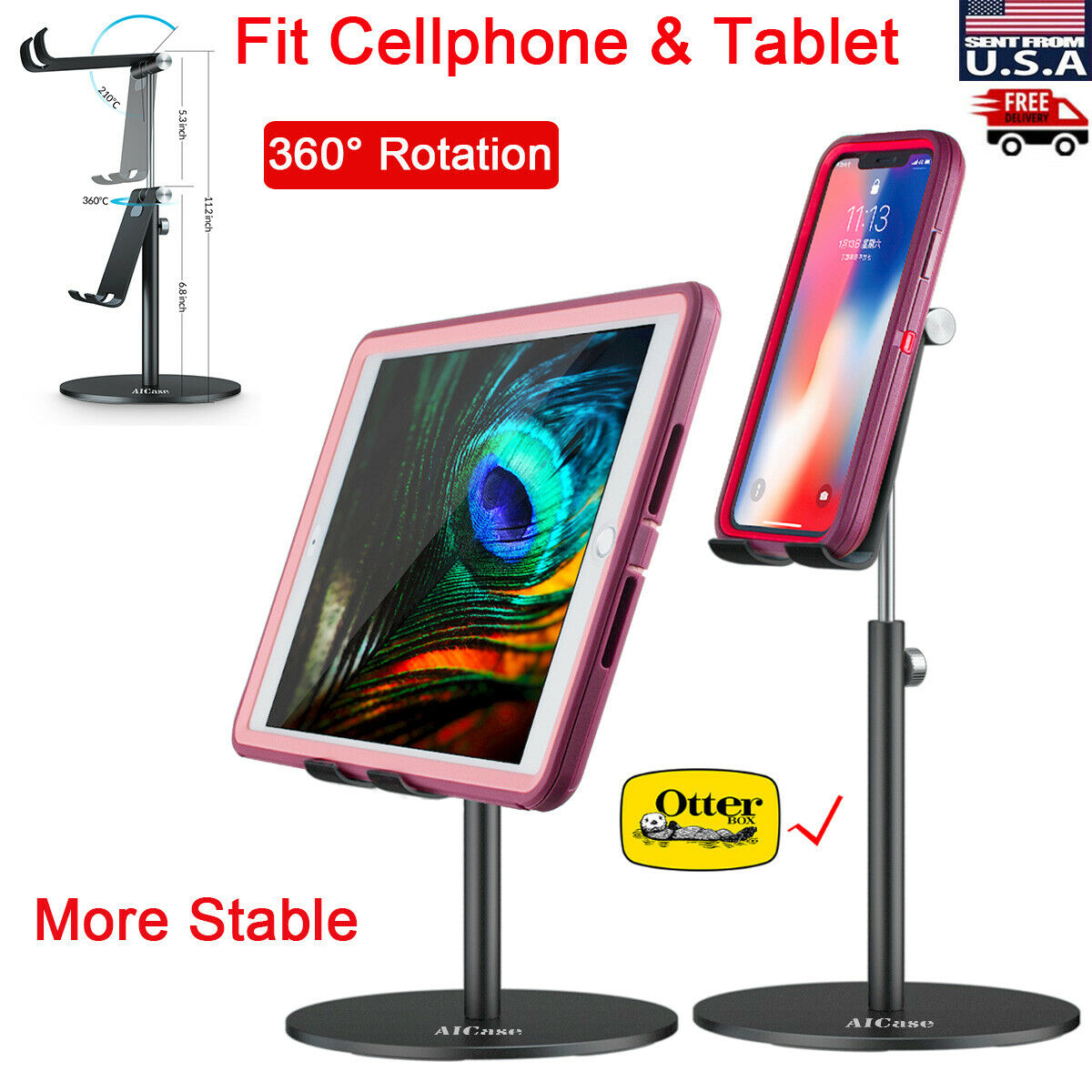 Tall Adjust Tablet Cell Phone Desktop Desk Stand iPad iPhone Mount Holder