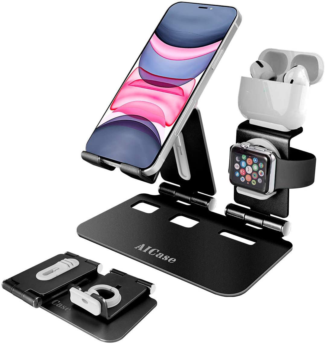 AICase 3 in 1 Aluminum Charging Stand Compatible with iWatch, AirPods 1/2/Pro and iPhone
