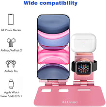 Load image into Gallery viewer, AICase 3 in 1 Aluminum Charging Stand Compatible with iWatch, AirPods 1/2/Pro and iPhone