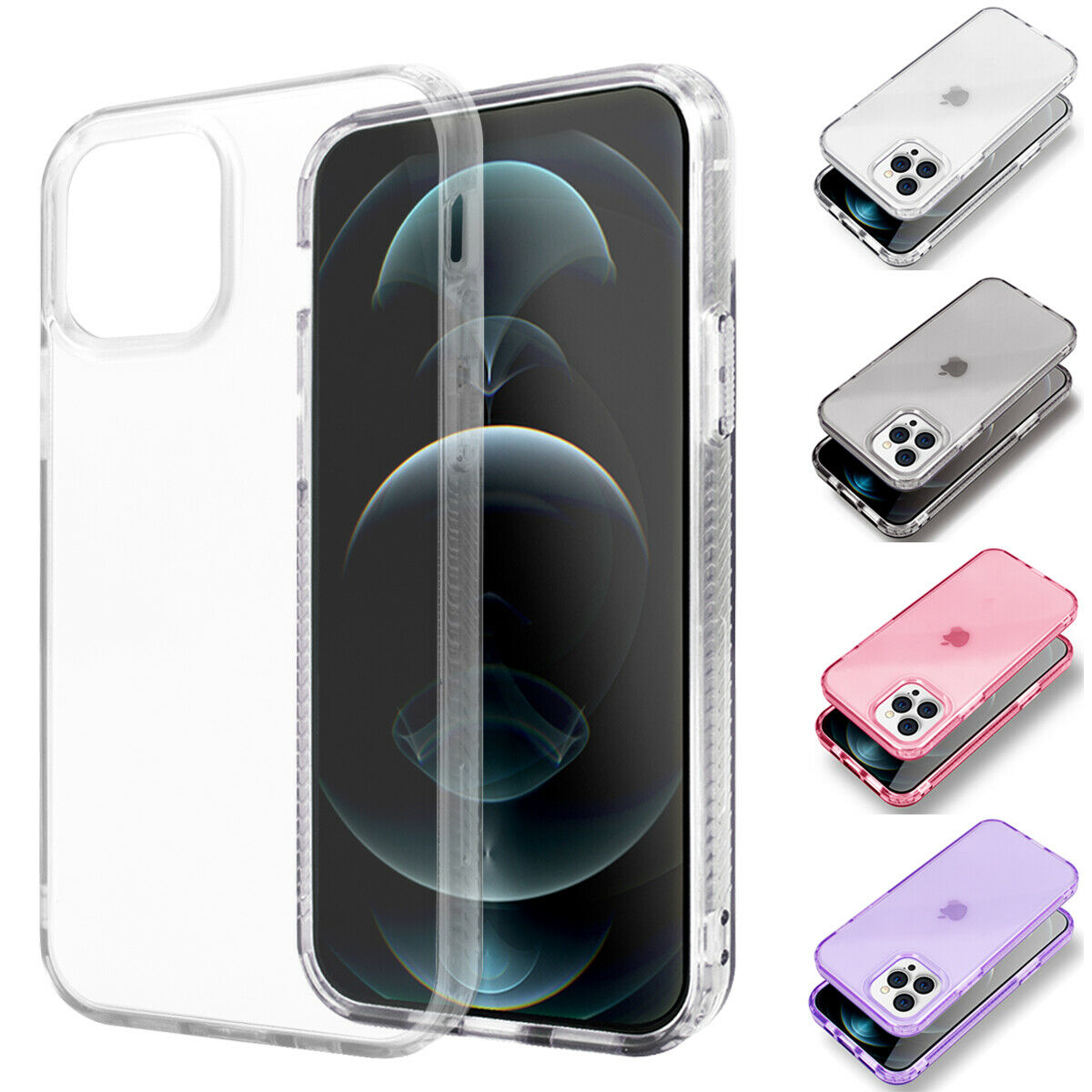 iPhone 12 Pro Max Clear Slim Back Shockproof Armor Soft Case Cover