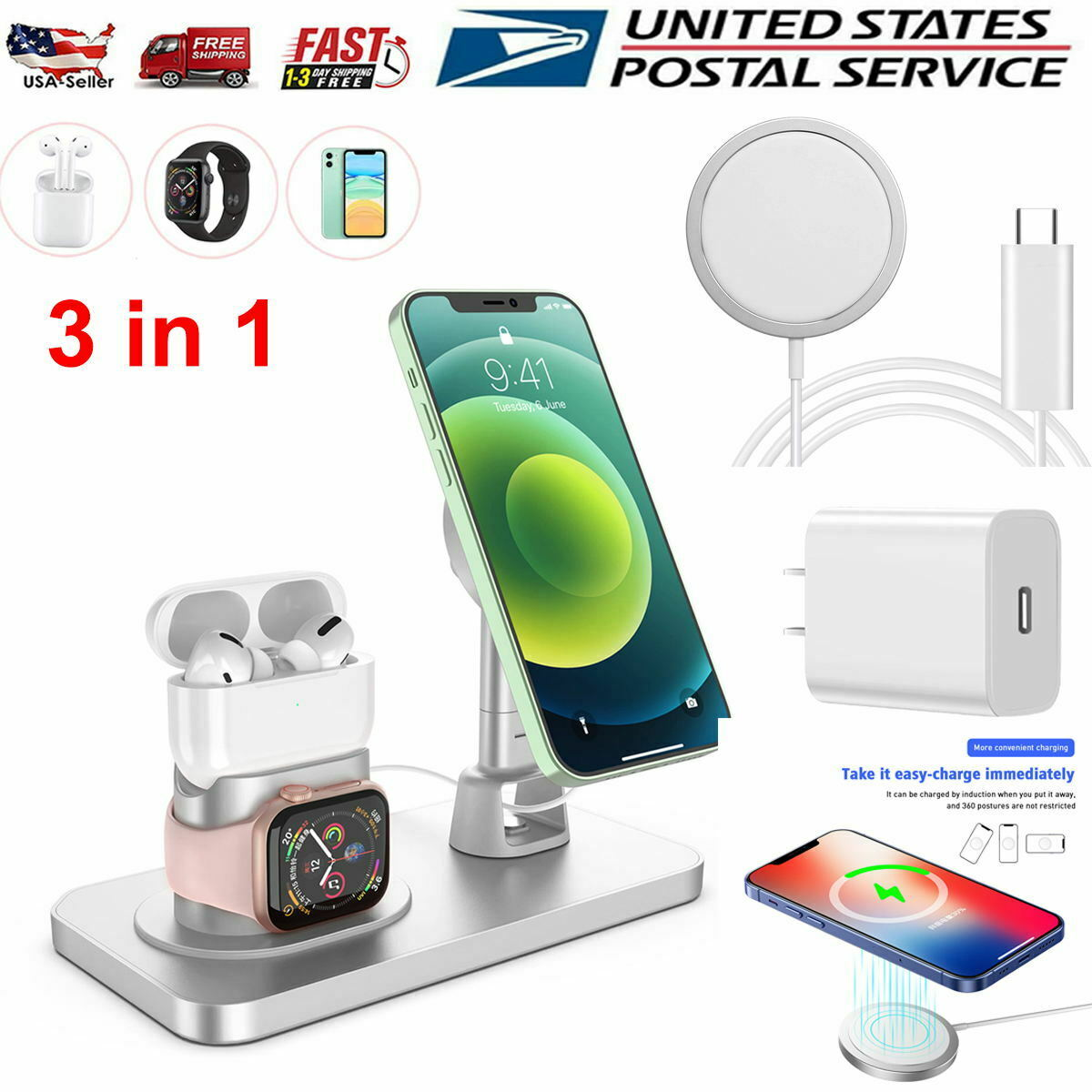 3 in 1 Charging Station Magnetic Safe Charger Stand Dock for for iPhone 12