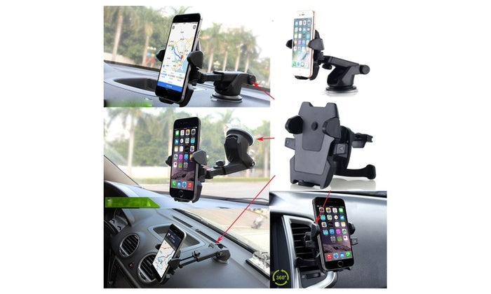 2-in-1 Car Air Vent Windshield Dash Smartphone Mount