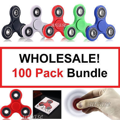 100X HAND SPINNER TRI FIDGET STEEL BALL DESK TOY EDC FINGER GYRO FOR KIDS ADULT