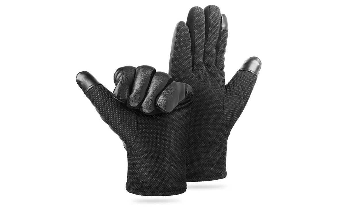 2-Tip PU Leather Waterproof Winter Touch Screen Gloves Black