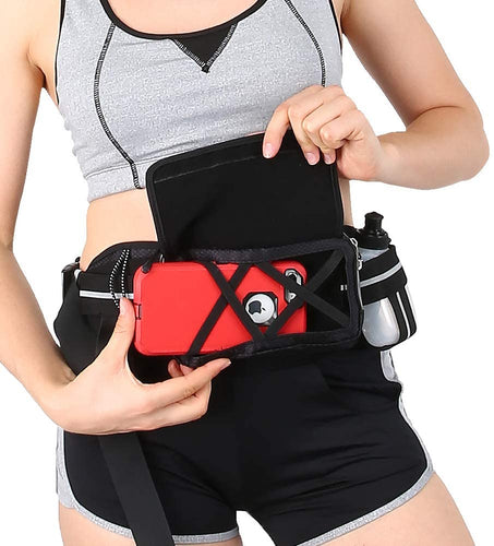 Sport Running Belt with Water Bottle and Vertical Bottle Holder for Phone