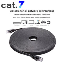 Load image into Gallery viewer, LOT CAT7 Shielded RJ45 Ethernet LAN Network Patch Cable Connector Internet Cord 164ft Black