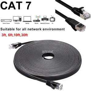 LOT CAT7 Shielded RJ45 Ethernet LAN Network Patch Cable Connector Internet Cord 164ft Black