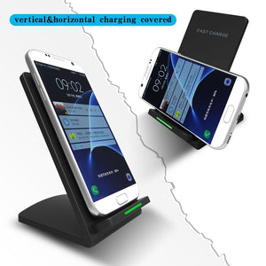 Qi Fast Wireless Charging Pad Stand Station with 2 Coils Cell