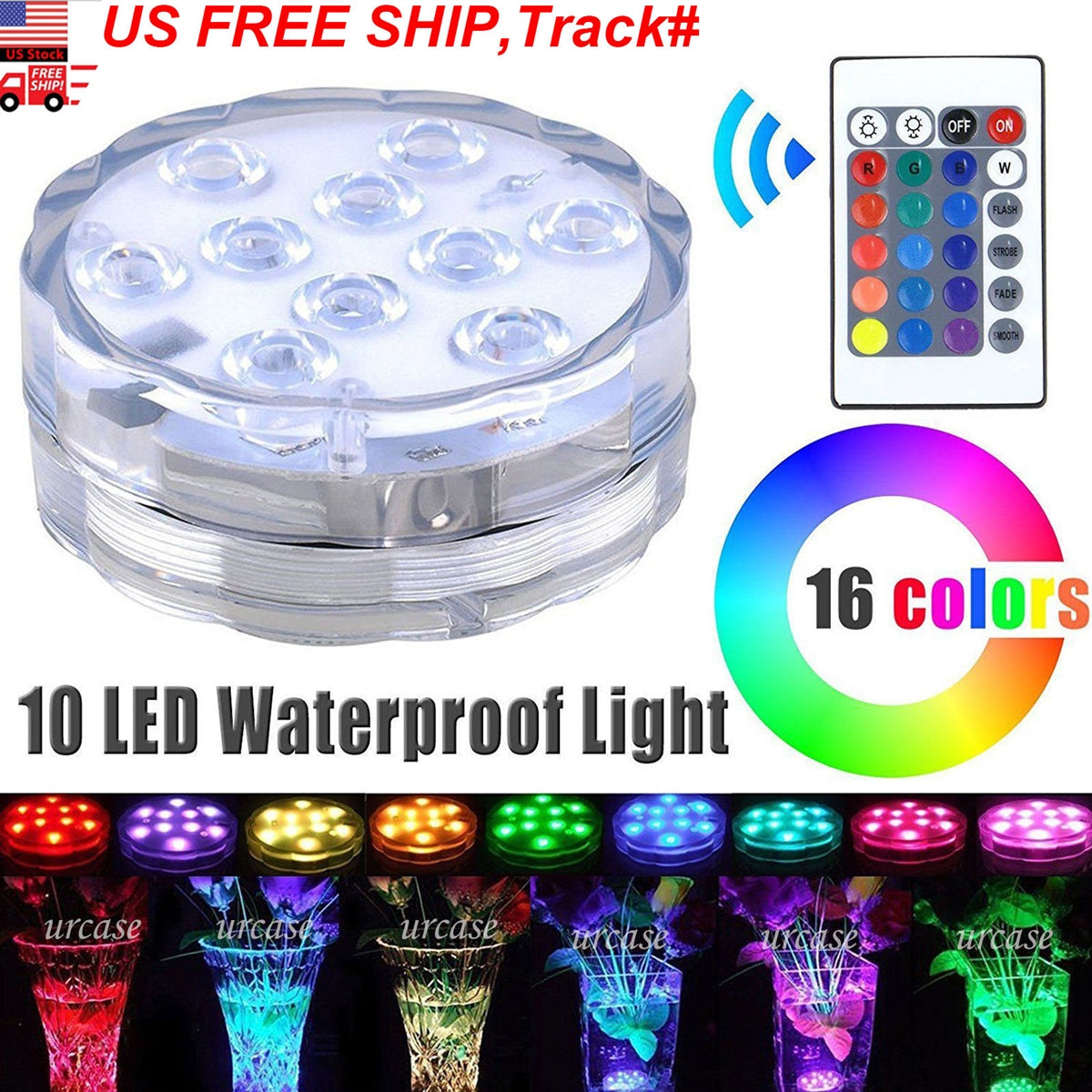 10 LED RGB Waterproof Submersible Lights Wedding Party Vase Lamp + Remote