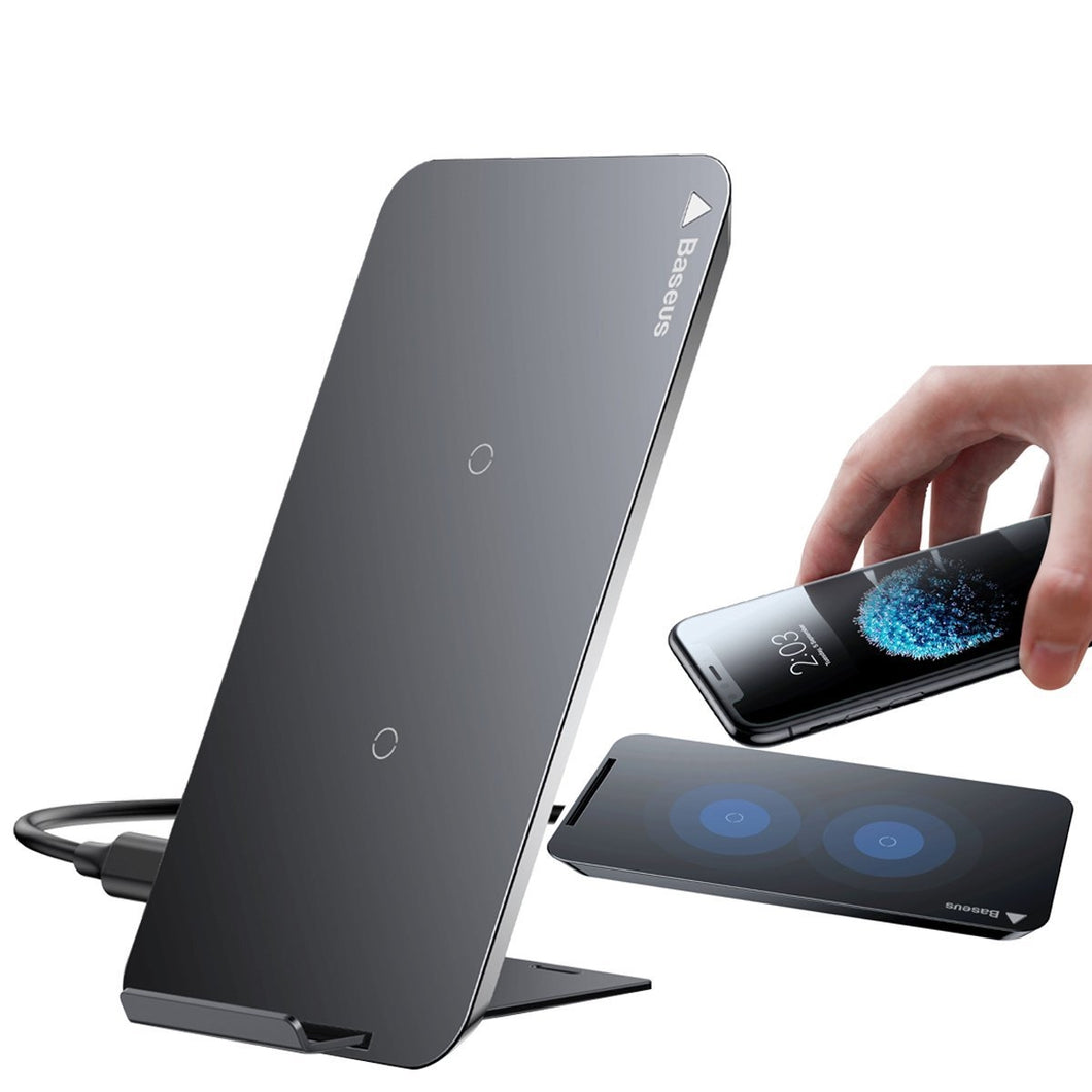 Black QI Wireless Charger 2 Coils Cell Fast Charging Pad Station