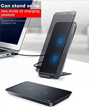 Load image into Gallery viewer, Black QI Wireless Charger 2 Coils Cell Fast Charging Pad Station