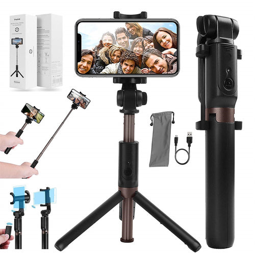 Extendable Selfie Stick with Wireless Bluetooth Remote and Tripod Stand
