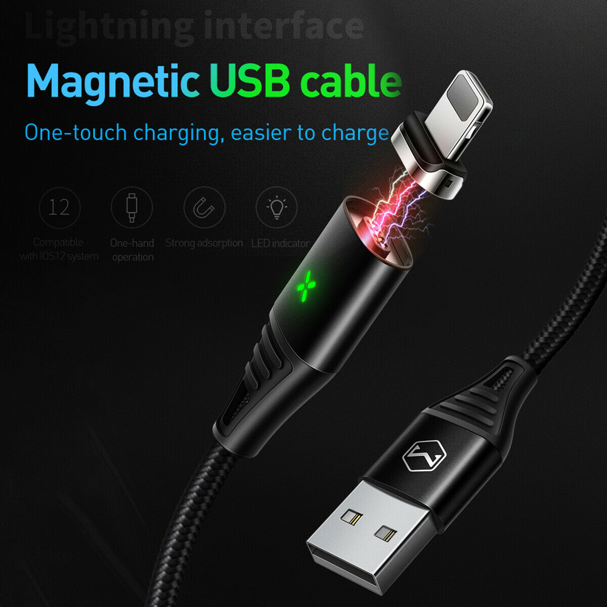MCDODO Magnetic Fast Charging Charger Lightning Cable Apple iPhone 12 11 X 8 7 6s and Plus