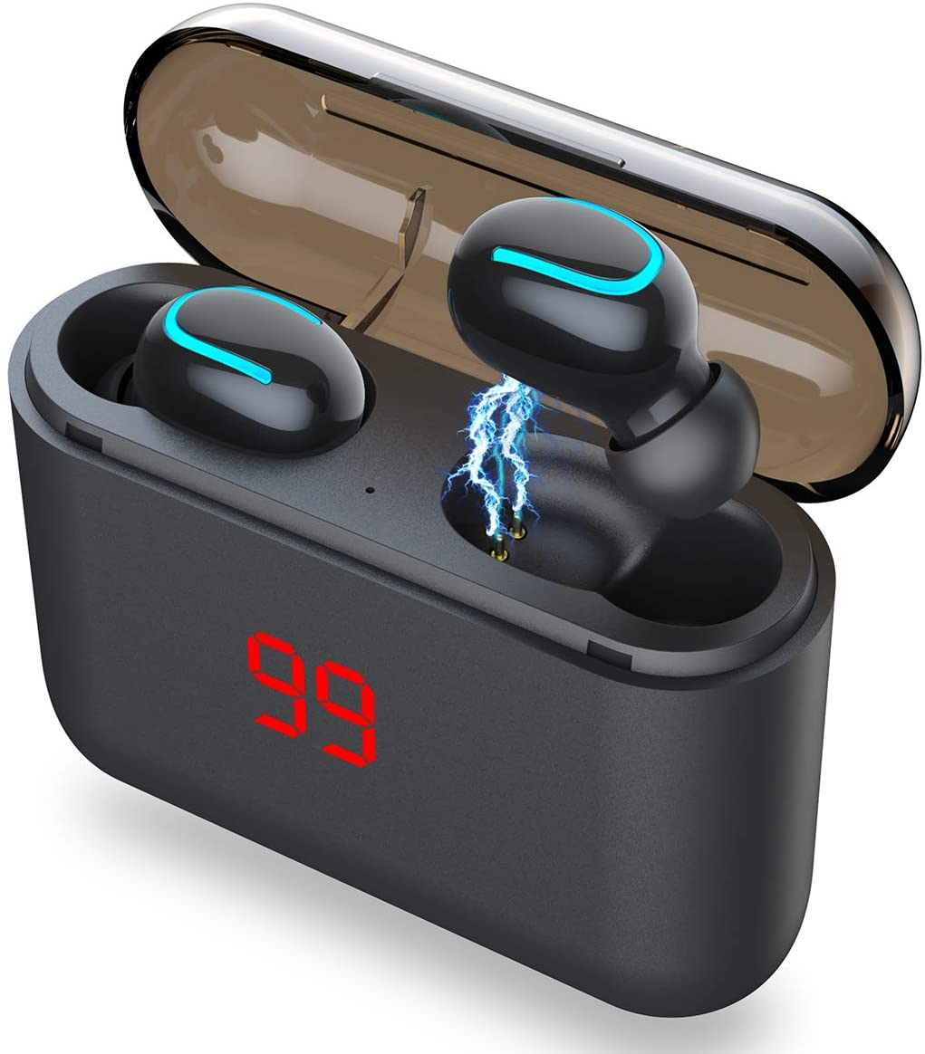 AICase TWS Wireless Headphones Bluetooth 5.0 Wireless Earbuds Built-in Mic Mini Sweatproof Sport Headsets in-Ear Headset with Wireless Charging Case
