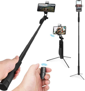 AICase A21 Telescoping Selfie Stick Bluetooth Lightweight All in One Extendable Selfie Sticks Compact Design for All Phones