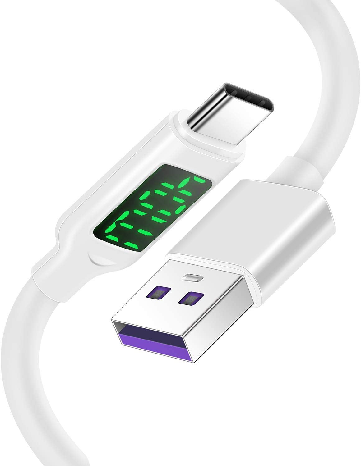 USB C Charger with LED Display, A to Type C Charging Cable Fast Charge for Samsung S20/S10/S9/S8
