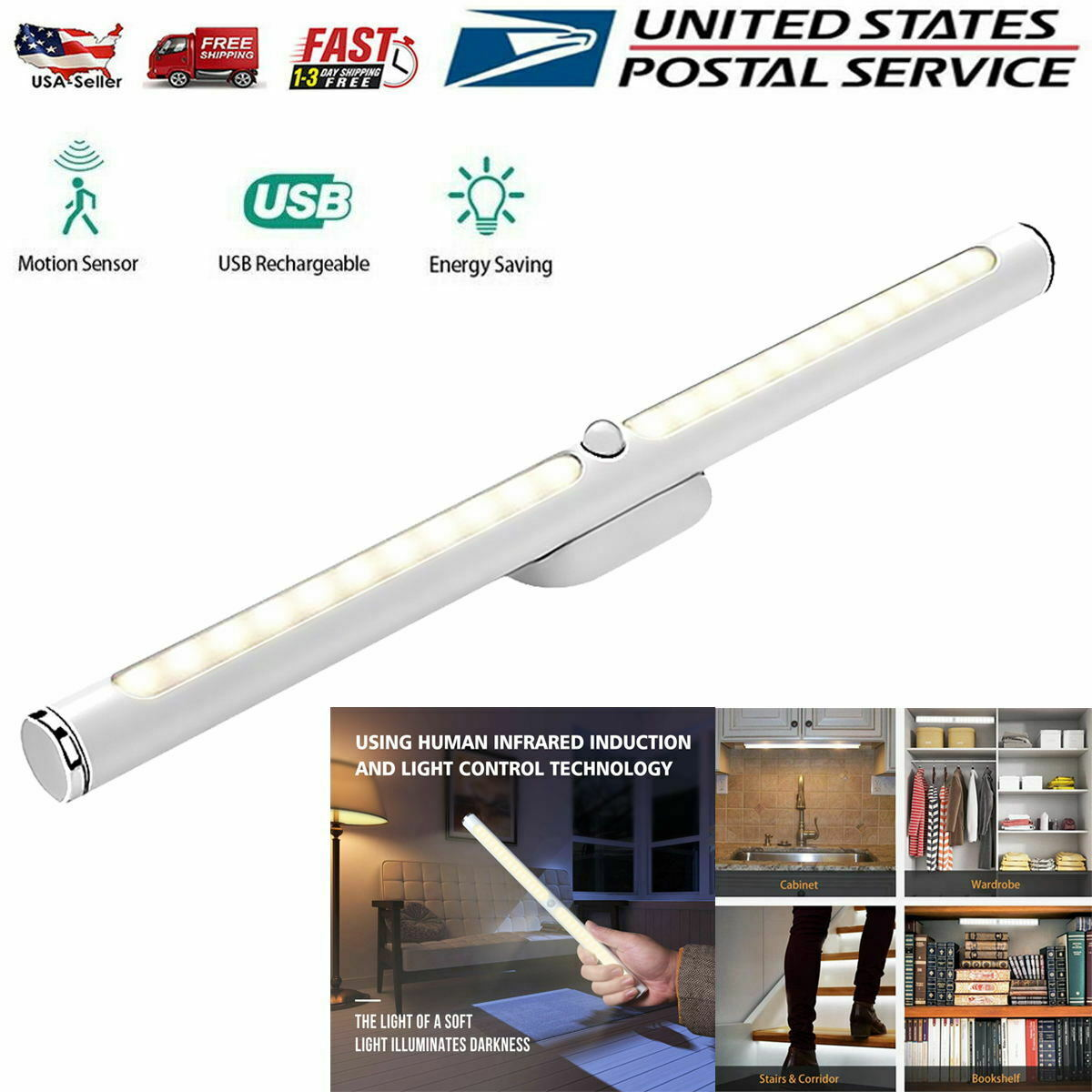22 LED Motion Sensor Closet Lights USB Rechargeable Under Cabinet Kitchen Lamp