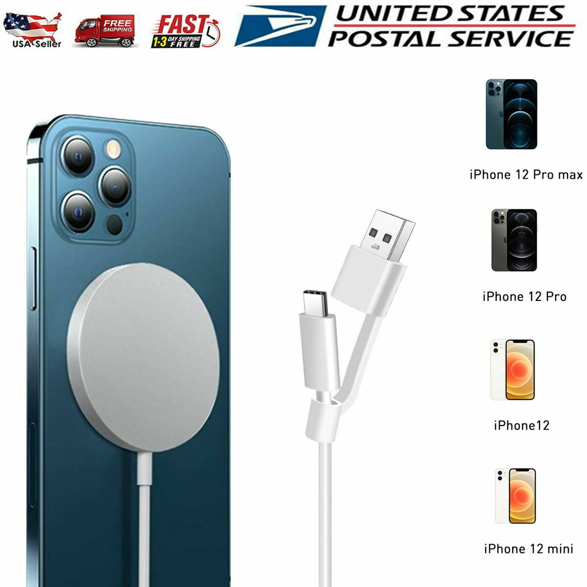 iPhone 12 MagSafe Wireless Charger Magnetic Fast Charging Pad Cable