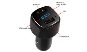 Black Dual USB Digital Display Bluetooth Car Charger FM Transmitter