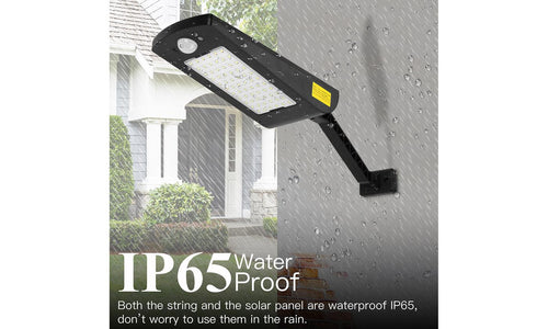 IP65 Waterproof Solar Wall Light 66 Lamp Beads Three Light Modes Remote Control