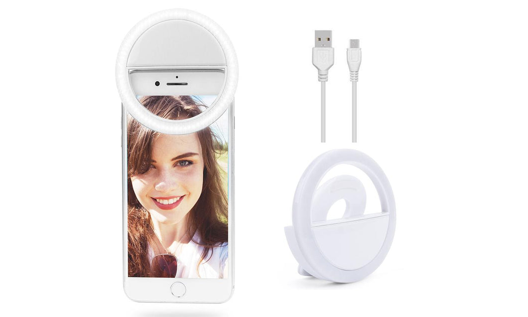 Bright LED Rechargeable Selfie Ring Fill Light Fr All Cell Phone Model