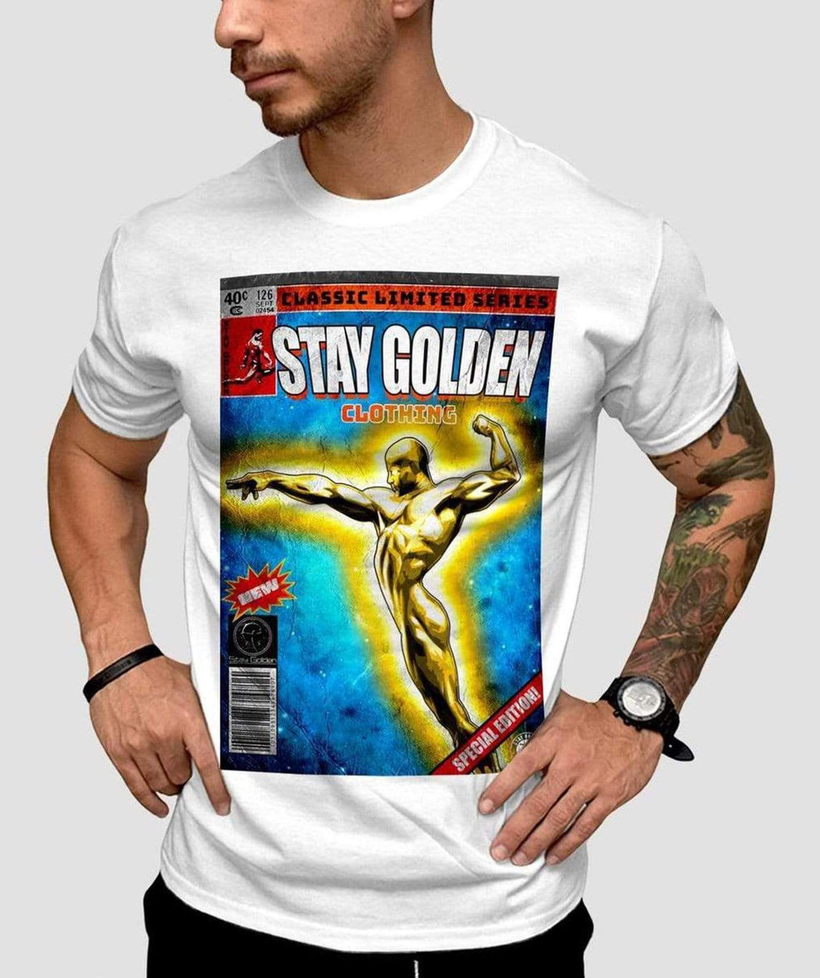 Comic Fitted T-Shirt - Stay Golden Clothing