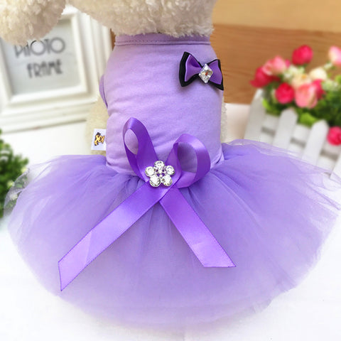 IDEPET Purple Bow Lace Princess Dress