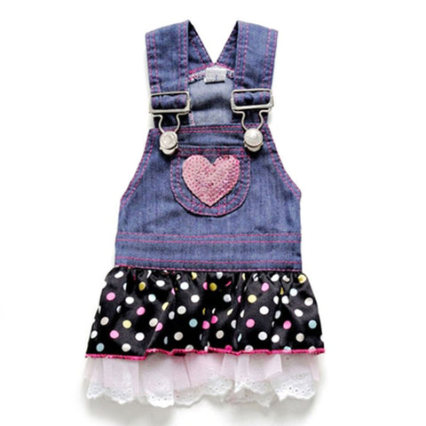 HoldHoney Pink Heart Jean Dress