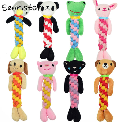 Senristar Pet Cotton Rope Chew Squeakers Toy