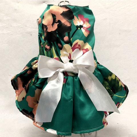 LLhlideal Flower Green princess Bow Dress