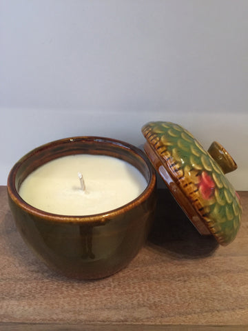 Acorn Candle, Green & Tan Glass