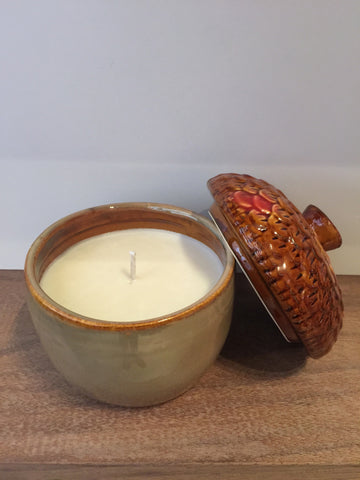 Acorn Candle, Tan & Brown Glass