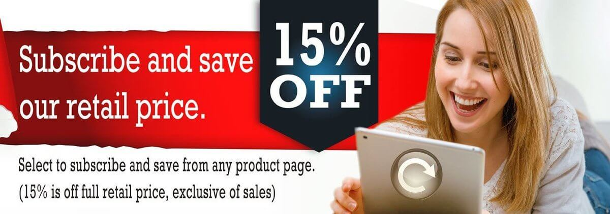 Subscribe to save 15% off the retail price of your orders.