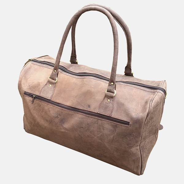 Thick Brown Leather Duffle Travel Bag