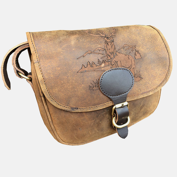 Leather Shotgun Cartridge Bag Stag Engraved