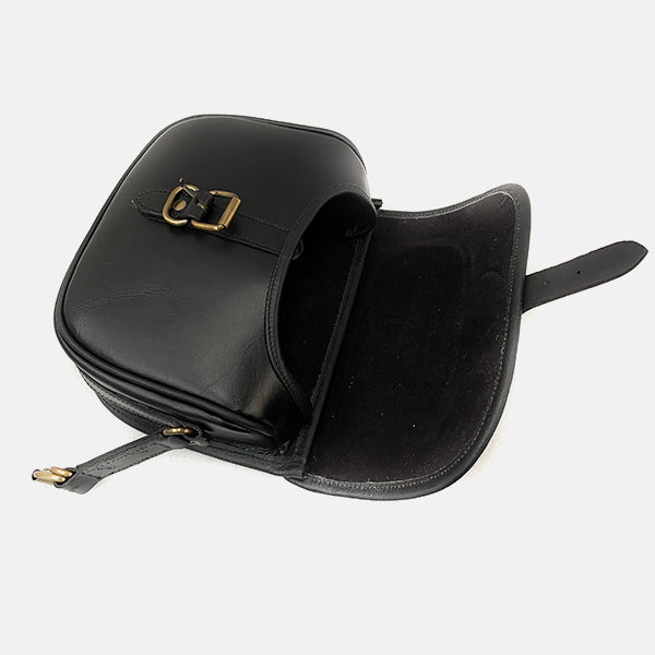 Black Leather Shotgun 90 Cartridge Bag