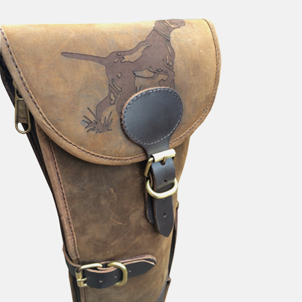 Leather Shotgun Slip Case Hound Engraved