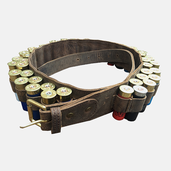 Double Leather Shotgun Cartridge Belt 12g Open
