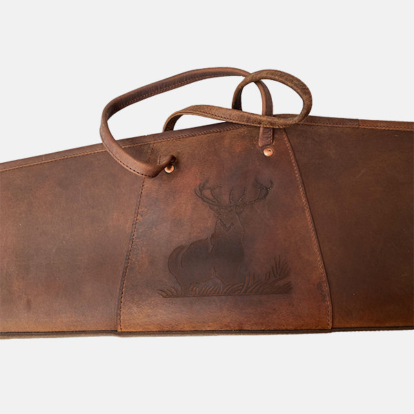 Leather Shooting Rifle Case Stag Engraved Design