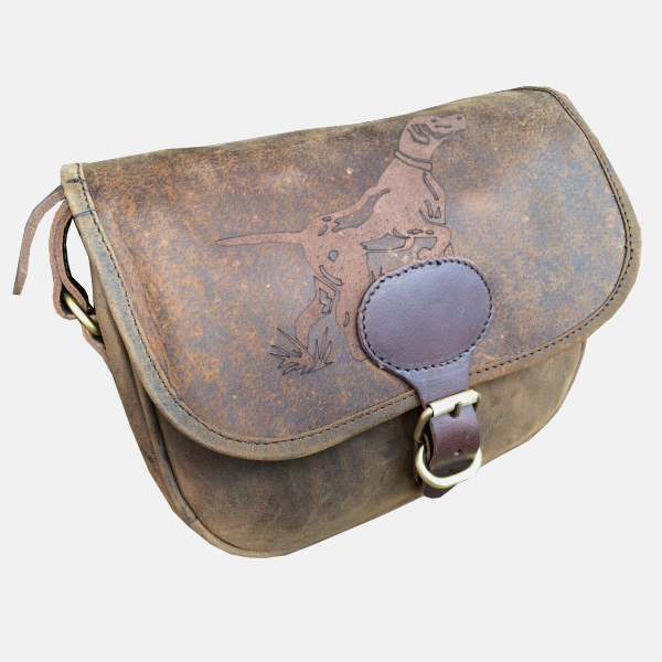 Leather Shotgun Cartridge Bag Hound Engraved