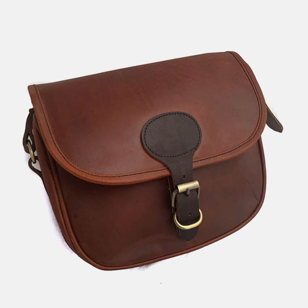 Rustic Oxblood Leather Shotgun 90 Cartridge Bag