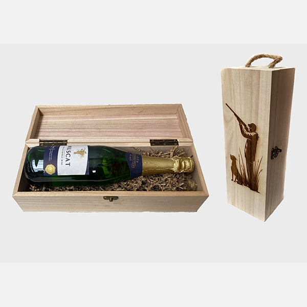 Personalised Wooden Shooting Scene Wine Gift Box
