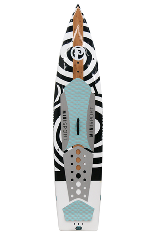 "Pau Hana Surf Supply 10'10"" Minisport 2016 Stand Up Paddle Board (in WHITE & BLACK) (Front View)"