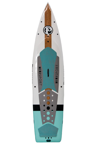 "Pau Hana Surf Supply 10'10"" Minisport 2016 Stand Up Paddle Board (in WHITE & TEAL) (Front View)"